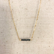 Load image into Gallery viewer, Delicate 14k gold necklace with Metallic Black Spinel Stones at Federal & Black
