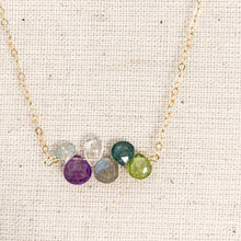 Load image into Gallery viewer, Delicate 14k Gold Multi Inline Gem Stone Necklace with Amethyst, Peridot, Moonstone, Labradorite & Blue Topaz