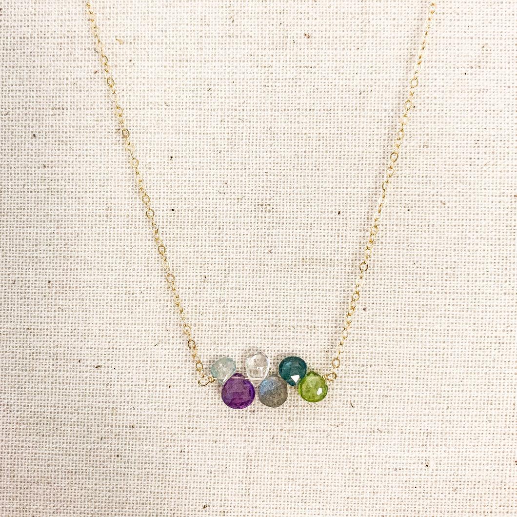 Delicate 14k Gold Multi Inline Gem Stone Necklace with Amethyst, Peridot, Moonstone, Labradorite & Blue Topaz