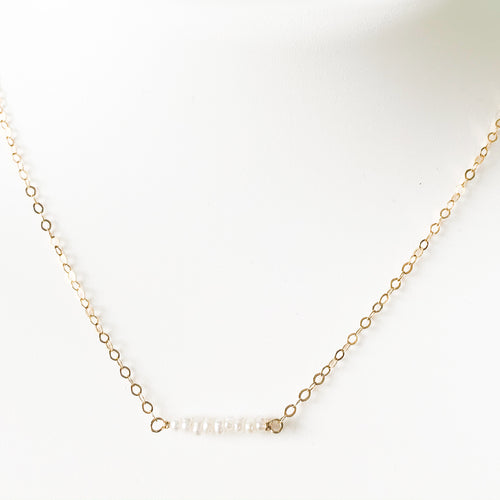 Delicate 14k gold & Seed Pearl Spinel Necklace at Federal & Black