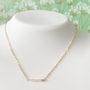 "Delicate 16"" 14k Gold Filled & Seed Pearl Spinel Necklace at Federal & Black"
