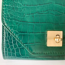 Load image into Gallery viewer, Shop our Emerald Green Crocodile Embossed Belt & Crossbody Bag at Federal & Black