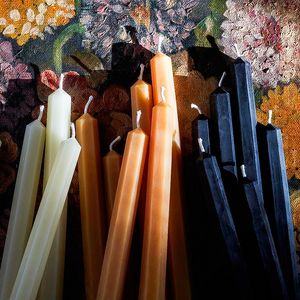 Cream Pure Beeswax Taper Candles by Tatine