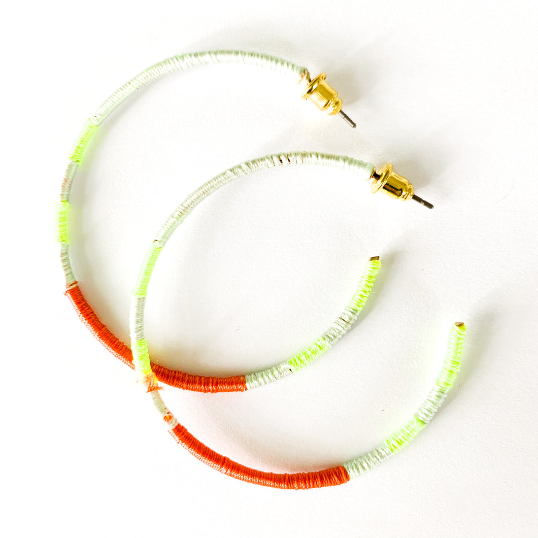 Shop our thread wrapped earrings including these in mint green, fluorescent green & orange at Federal & Black