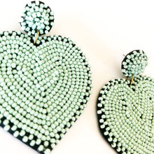 Load image into Gallery viewer, Shop the Mint Green Beaded Queen of Hearts Earrings and others at Federal & Black