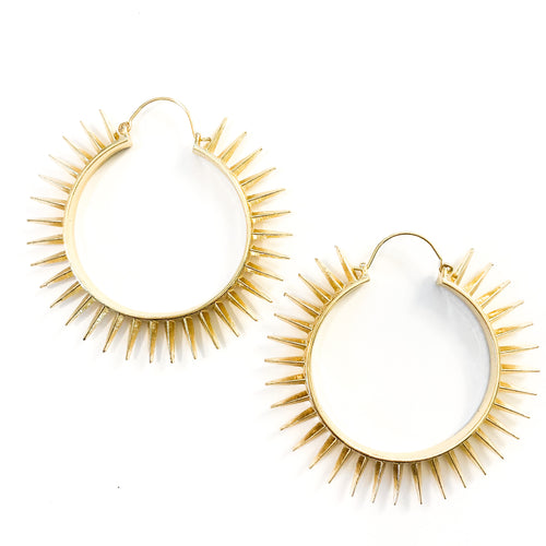 Shop the Gold Dipped Spiked Hoop Earring at Federal & Black