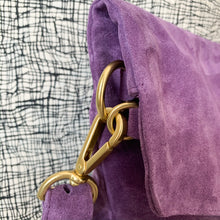 Load image into Gallery viewer, Explorer Foldover Crossbody Clutch in Purple Suede