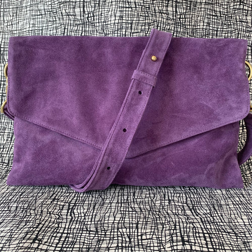 Explorer Foldover Crossbody Clutch in Purple Suede