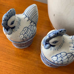 Shop this vintage pair of blue & white chicken in basket salt & pepper shakers at Federal & Black.