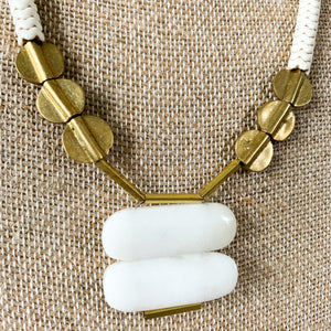 Shop the White Jade, Magnesite & Brass Necklace at Federal & Black