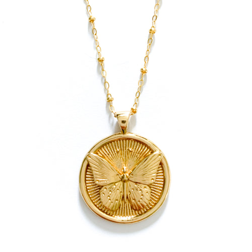 Jane Winchester 14k Gold Free & Protect Coin Pendants at Federal & Black