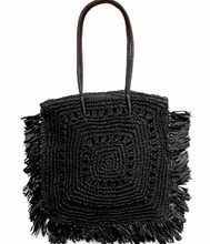 Load image into Gallery viewer, Shop the Fringe Trim Square Straw Shoulder Blag in Black at Federal & Black