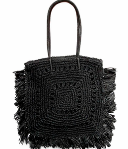 Shop the Fringe Trim Square Straw Shoulder Blag in Black at Federal & Black