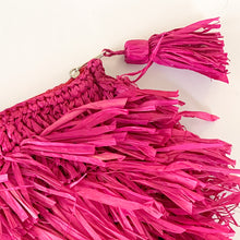 Load image into Gallery viewer, Woven Raffia Fringe Clutch in Fuchsia