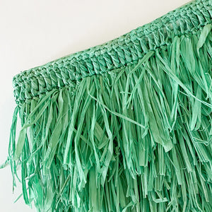 Shop the Frou Frou Raffia Clutch with Fringe in Mint at Federal & Black