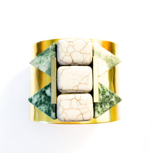Shop the Magnesite, Green Spotted Stone & Brass Cuff by David Aubrey at Federal & Black