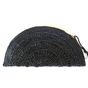 Shop our Half Moon Straw Clutch in black and others at Federal & Black