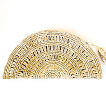 Load image into Gallery viewer, Shop our Half Moon Straw Clutch in Natural and others at Federal & Black