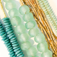 Load image into Gallery viewer, Shop our handmade glass beaded necklaces like this one, Ashanti Glass Saucer Beads in Turquoise at Federal & Black
