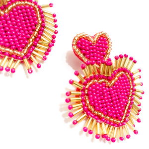 Shop the Hot Pink & Gold Beaded Hearts Earrings at Federal & Black