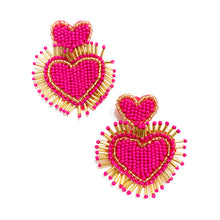 Load image into Gallery viewer, Shop the Hot Pink & Gold Beaded Hearts Earrings at Federal & Black