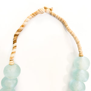 Shop African beaded necklaces like this Large Recycled Aqua Sea Glass Bead Necklace at Federal & Black