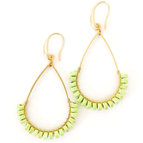 Shop the David Aubrey Lime Green Magnesite Bead & Brass Teardrop Earrings at Federal & Black