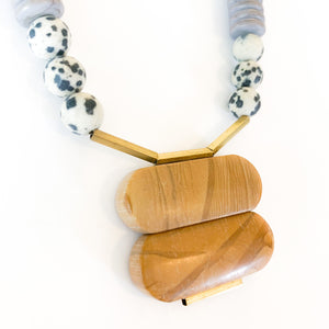 Shop the Dalmation, Jasper & Magnesite Stone Statement Necklace with brass at Federal & Black