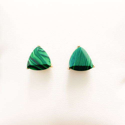 Malachite stud earrings at Federal & Black