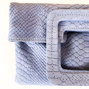Shop our Mateo Foldover Clutch in lavender python suede and others at Federal & Black