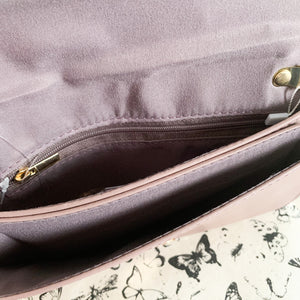 Mauve Lilac Leather Bow Clutch