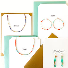 Load image into Gallery viewer, Shop blue chevron drop earrings on XOXO greeting card and others at FederalandBlack.com