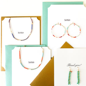 Shop beaded hoop earrings in green, black & white on Thank You greeting card at FederalandBlack.com