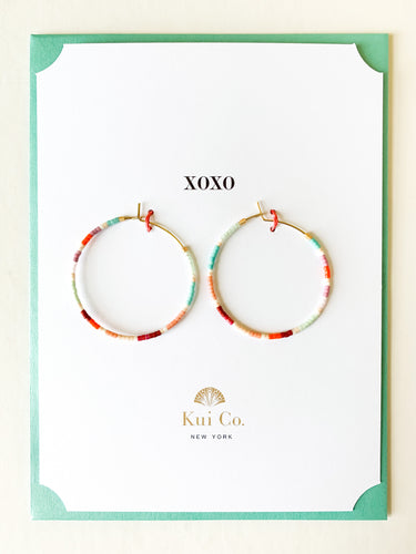 Shop this multi color beaded hoop earrings greeting card with XOXO and others at FederalandBlack.com