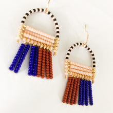 Load image into Gallery viewer, Shop the hand beaded November Earrings in blue, burgundy & pink at Federal & Black