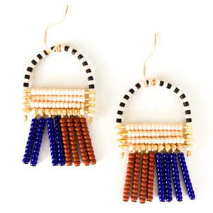Shop the hand beaded November Earrings in blue, burgundy & pink at Federal & Black