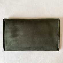 Load image into Gallery viewer, Suede Foldover Clutch in Forest Green w/ Patent Leather | Shop bags at Federal & Black