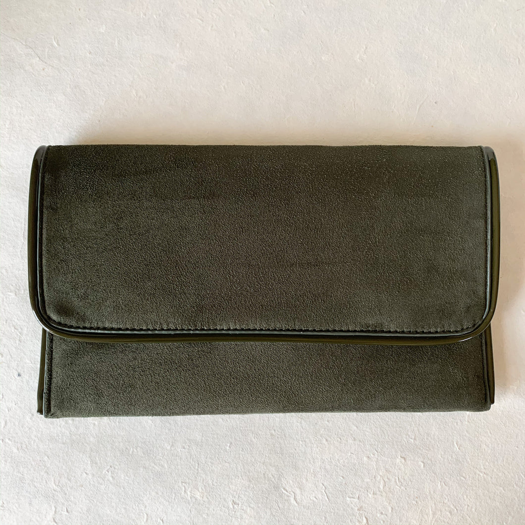 Suede Foldover Clutch in Forest Green w/ Patent Leather | Shop bags at Federal & Black