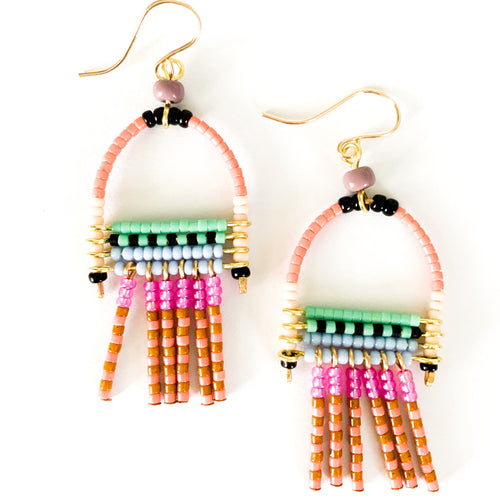 Shop the colorful and hand made beaded Pansy Earrings at Federal & Black