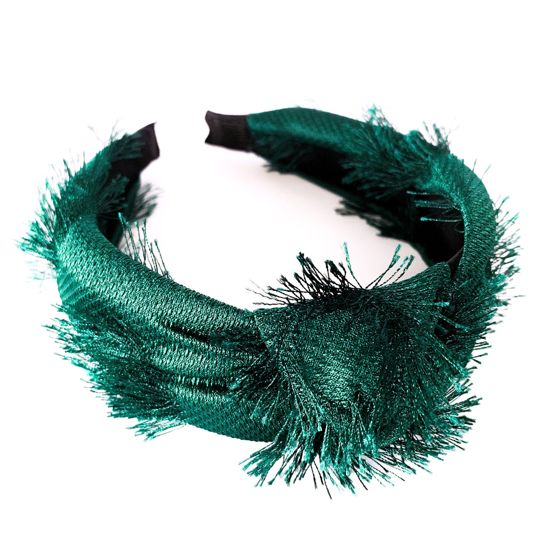 Shop the Penelope Knotted Headband in Emerald with eye lash fabric detail at Federal & Black