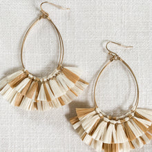 Load image into Gallery viewer, Shop our Raffia Fan Teardrop Earrings in ivory & caramel and other earrings at Federal & Black