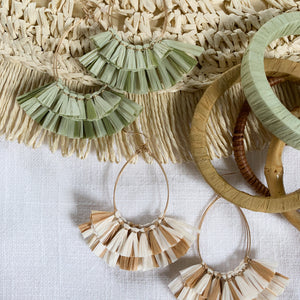 Shop our Raffia Fan Teardrop Earrings in ivory & caramel and other earrings at Federal & Black