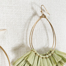 Load image into Gallery viewer, Raffia Fan Tear Drop Earrings in Olive