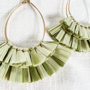 Raffia Fan Tear Drop Earrings in Olive