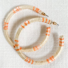 Load image into Gallery viewer, Raffia Wrapped Hoops in Creamsicle Peach & Ivory at Federal & Black
