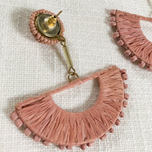 Load image into Gallery viewer, Raffia Wrapped Wedge Earrings with beads in Dusty Pink at Federal & Black