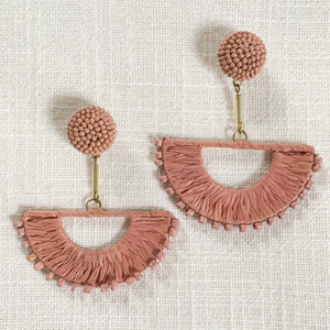 Raffia Wrapped Wedge Earrings with beads in Dusty Pink at Federal & Black