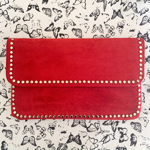 Foldover Clutch in Red w/ Gold Stud Trim