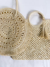 Load image into Gallery viewer, Shop this woven straw shopper tote with tassels at Federal & Black | Free Shipping