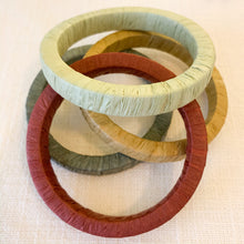 Load image into Gallery viewer, Raffia Wrapped Bangle Bracelet in Rust